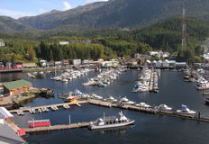 Ketchikan Marina, Alaska. Water based tours on Alaska's waterways to glaciers and forests allow viewing of Alaska's natural beauty and wildlife are popular with Royalty Free Stock Photos