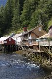 Ketchikan Old Town. The view of historic and famous Creek Street in Ketchikan, Alaska Stock Photos