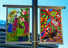 Ketchikan street posts. Colorful glass of Ketchikan street posts Stock Photos