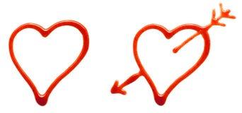 ketchup сердец Стоковое Изображение