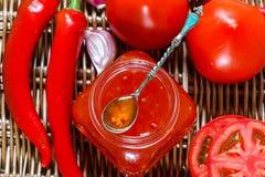 ketchup Atasco chutney Confitura Salsa picante de tomates y de la pimienta para la carne y las pastas ketchup foto de archivo