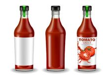 Ketchup bottle set vector realistic mock up. Product placement. Label design. Detailed banner 3d illustrations. Ketchup bottle set vector realistic mock up vector illustration