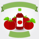 Ketchup bottle and tomatoes Stock Photo