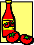 Ketchup bottle and tomatoes vector illustration Royalty Free Stock Photos