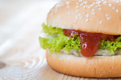 Ketchup in chicken cheese Hamburger Stock Photos
