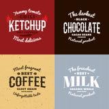 ketchup choklad, kaffe, mjölkar vektorlogouppsättningen Retro stilemblem Royaltyfri Foto