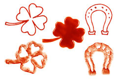 Ketchup Cloverleaf Horseshoe 1. A picture of some liquid ketchup cloverleaf horseshoe stain Royalty Free Stock Photography