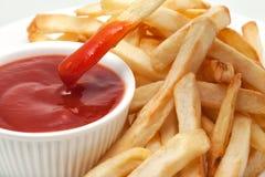 Ketchup con le patate fritte Immagine Stock Libera da Diritti