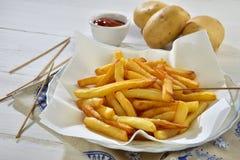 Ketchup del fritte e di Patate Fotografia Stock Libera da Diritti
