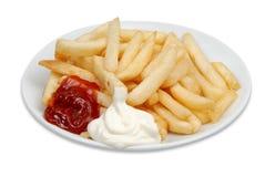 Ketchup di Cips Patato Fotografia Stock Libera da Diritti