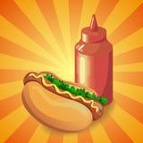 Ketchup e hot dog illustrazione vettoriale