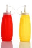 ketchup e senape della bottiglia Fotografie Stock Libere da Diritti