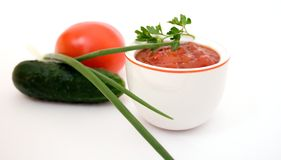 Ketchup e vegetais Fotografia de Stock Royalty Free