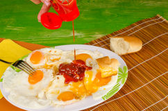 Ketchup on eggs , fast food Stock Image