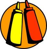 Ketchup en mosterd vector illustratie