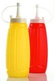 Ketchup et moutarde de bouteille image libre de droits
