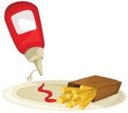 Ketchup et pommes frites Photo stock