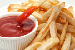 Ketchup with french fries Royalty Free Stock Image