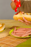 Ketchup on hot dog Stock Photo