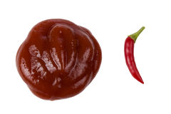 Ketchup and hot pepper Royalty Free Stock Photography