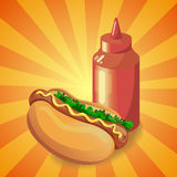 Ketchup i hot dog Fotografia Royalty Free