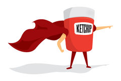 Ketchup jar super hero with cape Stock Photo