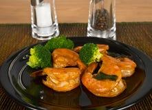 Ketchup Jumbo Shrimp. Jumbo Shrimp and Broccoli on a plate royalty free stock photos