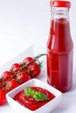 Ketchup, ketchup in een fles en een kom met kersen panicles toma Royalty-vrije Stock Fotografie