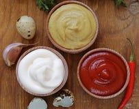 Ketchup, maionese e mostarda - três tipos do molho Imagem de Stock Royalty Free