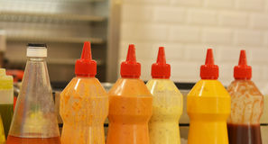 Ketchup, mayonnaise and others sauces. For fast food stock photo