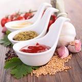 Ketchup, molho do pesto e mostarda Imagem de Stock Royalty Free