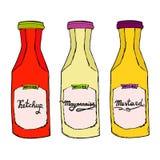 Ketchup, moutarde, bouteilles de mayonnaise Croquis artistique tiré par la main Images stock