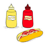 Ketchup and mustard bottles Stock Images