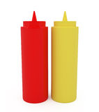 Ketchup and Mustard Bottles Isolated on White Stock Photos