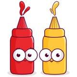 Ketchup and mustard characters Royalty Free Stock Photos