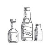 Ketchup, mustard and sea salt condiments Royalty Free Stock Image