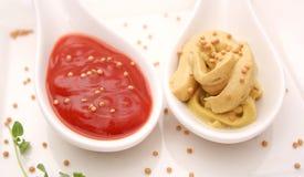 Ketchup and mustard. Some fresh ketchup and mustard Stock Photo