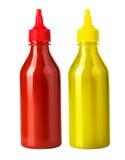 Ketchup- och senapbottl Royaltyfria Foton