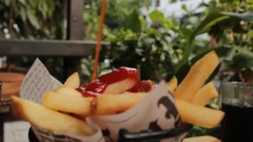 Ketchup And Potato Fries stock footage