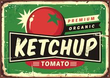 Ketchup retro sign with juicy tomato. On green background. Vector illustration Royalty Free Stock Photos