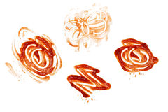 Ketchup spill stain mucky white background Stock Image