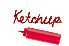 Ketchup and squeezed dispenser Royalty Free Stock Photo