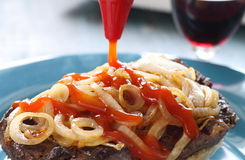 Ketchup On Steak Burger Stock Photo