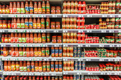 Ketchup Tomato Sauce Bottles. BUCHAREST, ROMANIA - APRIL 28: Ketchup Tomato Sauce Bottles On Supermarket Shelf on April 28, 2014 in Bucharest, Romania royalty free stock photos