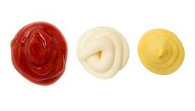 Ketchupmosterd en de vlek van de Mayonaisevlek stock foto