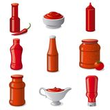 Ketchups and sauces. Illustration of set tomato ketchups and sauces in bottles Royalty Free Stock Image
