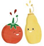 Ketchupu i musztardy condiments Obrazy Royalty Free