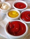 Ketchupu majonez i musztarda zdjęcie stock