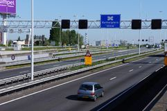 Kethelplein junction near Rotterdam in the Netherlands. Rotterdam, the Netherlands. May 2018. The A4 motorway near Rotterdam and the Kethelplein junction Royalty Free Stock Photos