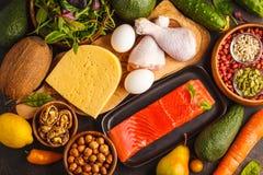 Keto能转化为酮的饮食概念 平衡的低碳食物背景 免版税库存照片